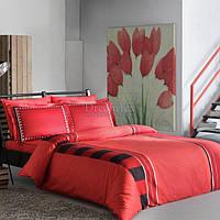 """Комплект постельного белья TAC """"Deluxe Mabel V04"""" красный евро (8696048443309)"""
