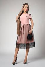 Летящее свободное летнее платье с кружевом, фото 2