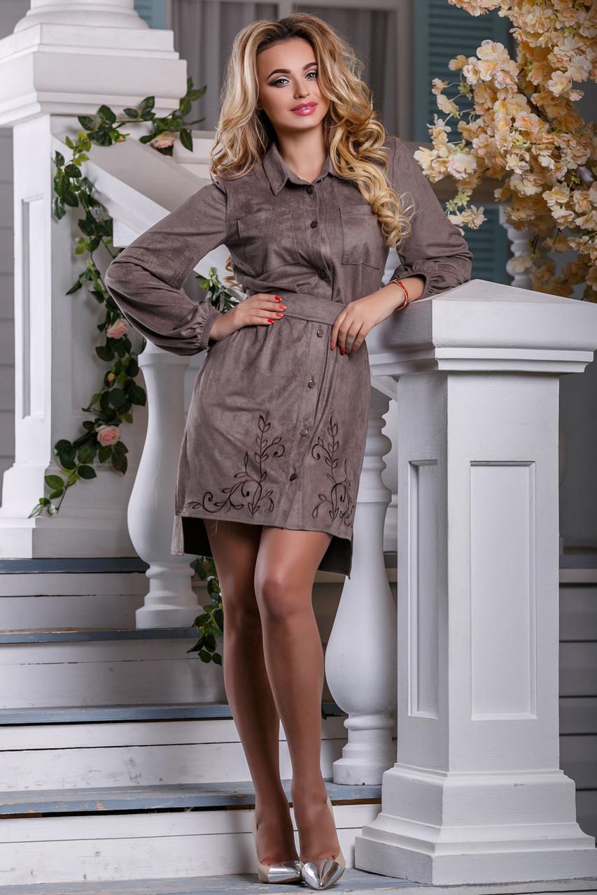 Элегантное платье эко замш асимметричное рукав широкий длинный полу приталенное с поясом капучино