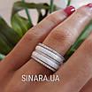 Серебряное кольцо белая керамика и фианиты, фото 4