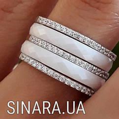 Серебряное кольцо белая керамика и фианиты