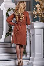 Элегантное платье эко замш асимметрия полу приталенное коричневый, фото 3