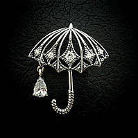Серебряная булавка брошь Зонтик