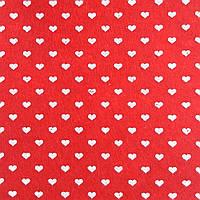 Фетр с мелкими сердечками жесткий 1 мм, 20x30 см, КРАСНЫЙ