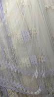 Тюль на фатиновой основі пусте поле+2 ряду вишивки), фото 1