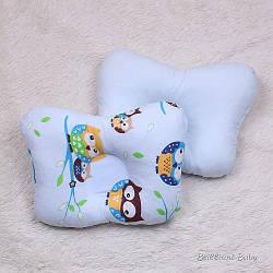 Ортопедическая подушка Совушка для новорожденных (голубая)