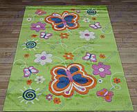 """Ковер для детской комнаты """"Бабочки"""", цвет зеленый. Детские ковры купить недорого"""