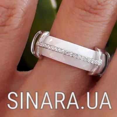 Кільце з керамікою і цирконієм срібло 925