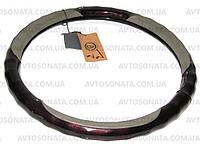 Оплетка LUX 004 G L дерево/кожа серая под пальци, фото 1