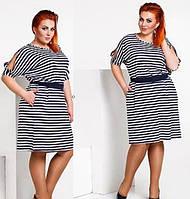 Платье большого размера с поясом изготовлено эластичной и мягкой вискозы размеры 48-58