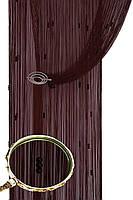 Кисея шторы нити Галактика № 08 (шоколадный)