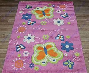 """Ковер для детской комнаты """"Бабочки"""" Цвет розовый.  Детские ковры купить недорого"""