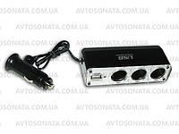 Тройник в прикуриватель 0096 с проводом +USB /предохр.(USB=500mA), фото 1