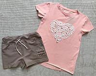 Детский комплект шорты и футболка для девочки 6 лет