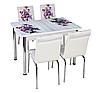 """Раскладной стол обеденный кухонный комплект стол и стулья 3D 3д """"Фиолетовый букет"""" стекло Лотос-М Mobilgen"""