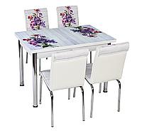 """Раскладной стол обеденный кухонный комплект стол и стулья 3D 3д """"Фиолетовый букет"""" стекло Лотос-М Mobilgen, фото 1"""