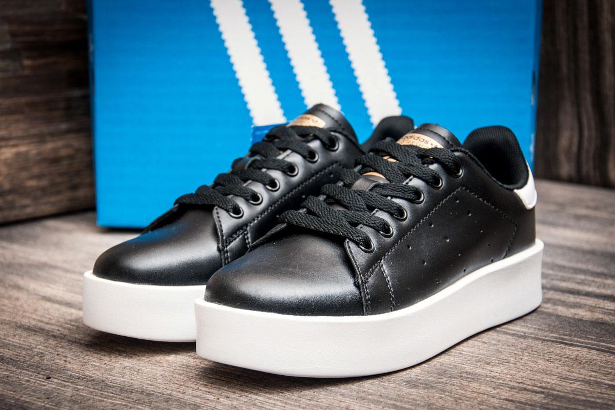 Кроссовки женские   Adidas Stansmith, черные (2489-3),  [  37 (последняя пара)  ] (реплика)