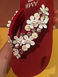 Шлепанцы с цветами на платформе цвета марсала , копия, фото 2
