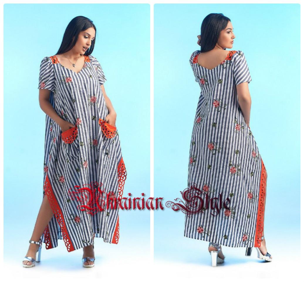 4c1efa1ba66 Женское летнее льняное платье в пол больших размеров.  продажа