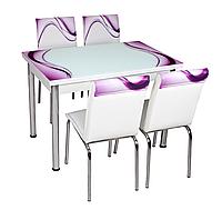 """Раскладной стол обеденный кухонный комплект стол и стулья рисунок 3д """"Фиолетовые волны"""" стекло 70*110 Лотос-М, фото 1"""