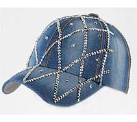 Женская джинсовая кепка со стразами «Сетка»