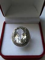 Кольцо серебро 925 пробы белый топаз 25,06 карат, фото 1