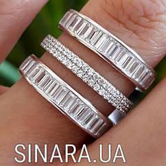 """Роскошное серебряное кольцо с цирконием """"Багет"""""""