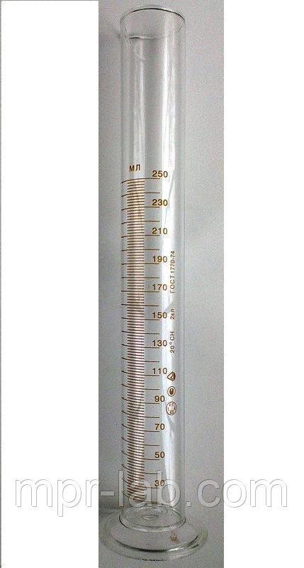 Цилиндр мерный с носиком на стеклянном основании V-250 мл Кл. точности - II. ГОСТ 1770-74