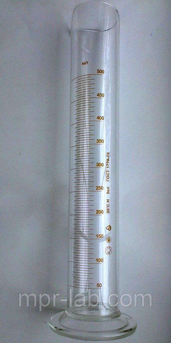 Цилиндр мерный с носиком на стеклянном основании V-500 мл Кл. точности - II. ГОСТ 1770-74