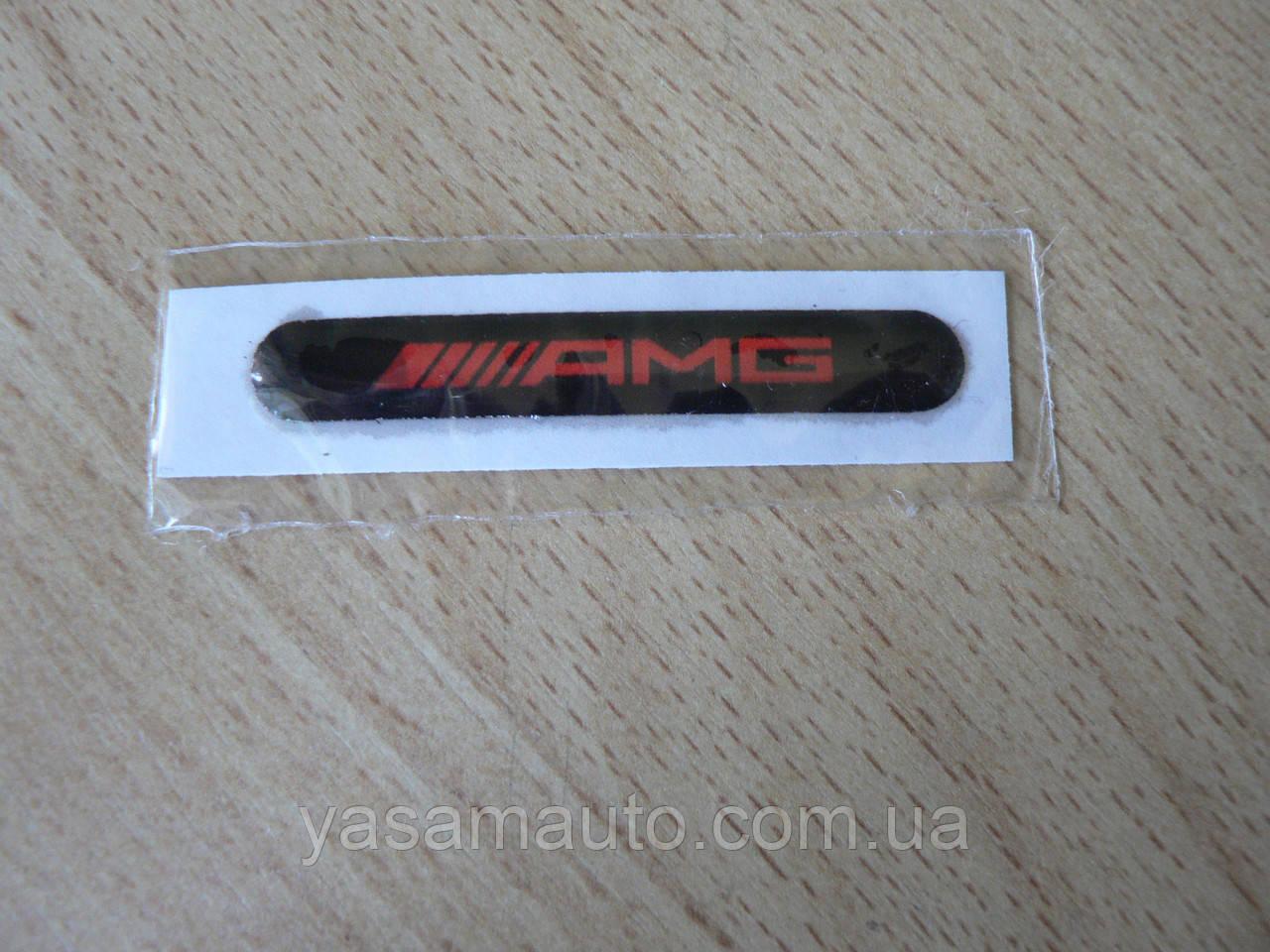 Наклейка s надпись AMG 52х7.8х1мм силиконовая полоска на авто эмблема логотип АМГ красная на черном фоне