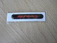 Наклейка s надпись AMG 52х7.8х1мм силиконовая полоска на авто эмблема логотип АМГ красная на черном фоне , фото 1