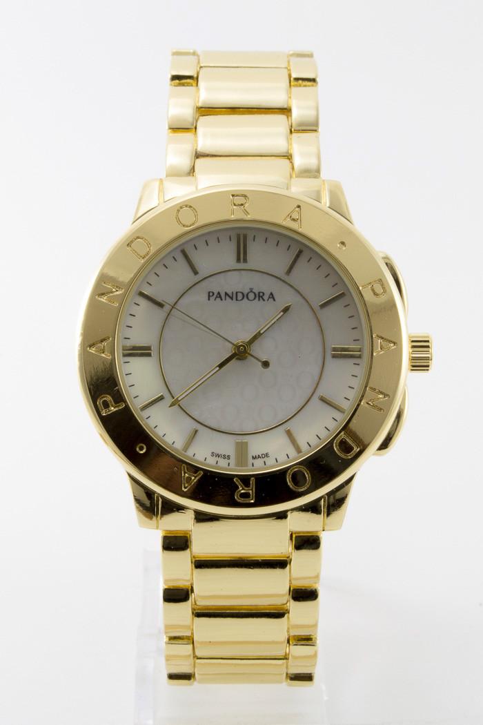 Женские золотистые наручные часы Pandora с белым циферблатом ( код: IBW095Y )