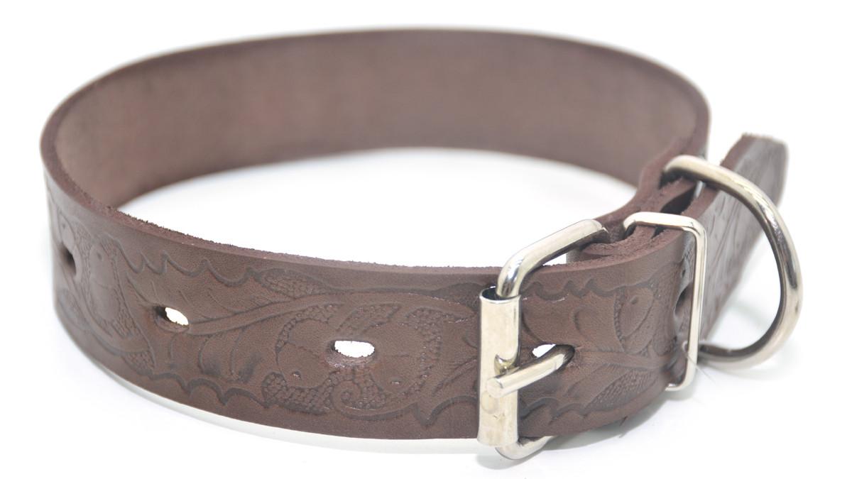 Ошейник для собак кожаный тисненный ОТ Дубок коричневый