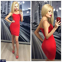 Силуэтное платье красное, малина ,ментол  T-4079