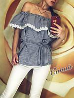 Женская блузка летняя волан в клетку оптом