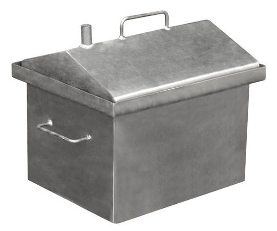 Коптильня горячего копчения с крышкой домиком (средняя) + 2 кг щепы