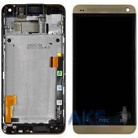 Дисплей (экран) для телефона HTC One M7 Dual Sim 802w + Touchscreen with frame Original Gold