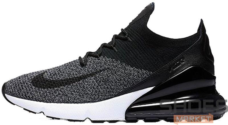 Мужские кроссовки Nike Air Max 270 Flyknit Black/White, Найк Аир Макс 270