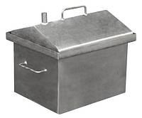 Коптильня горячего копчения с крышкой домиком (средняя) + 2 кг щепы (коптильня гарячого копчення з кришкою)