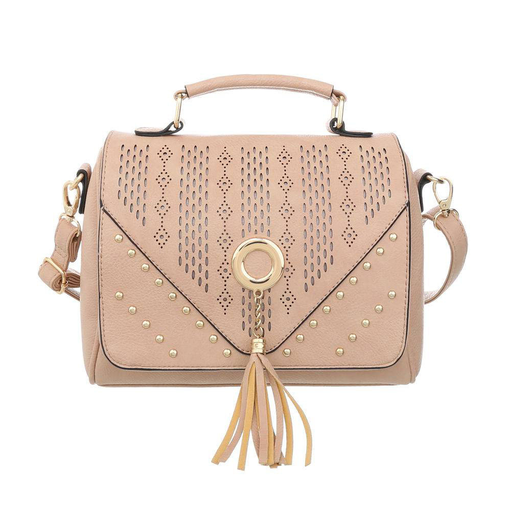 Женская сумка розовая с кисточкой и заклепками (Европа) Пудровый
