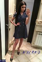 Джинсовое платье - пиджак  T-4309