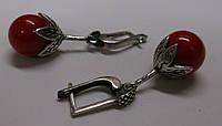 Серебряные серьги с кораллом от студии LadyStyle.Biz