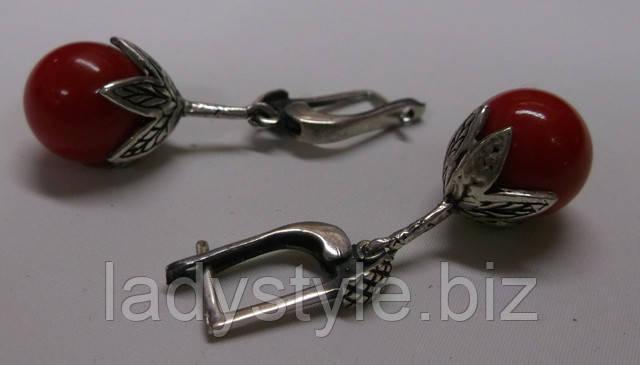 серебряные серьги коралл украшения сережки купить студия леди стиль