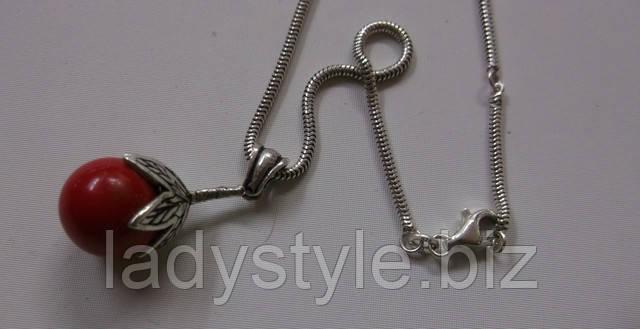 купить украшения серебряный кулон подвеска коралл леди стиль