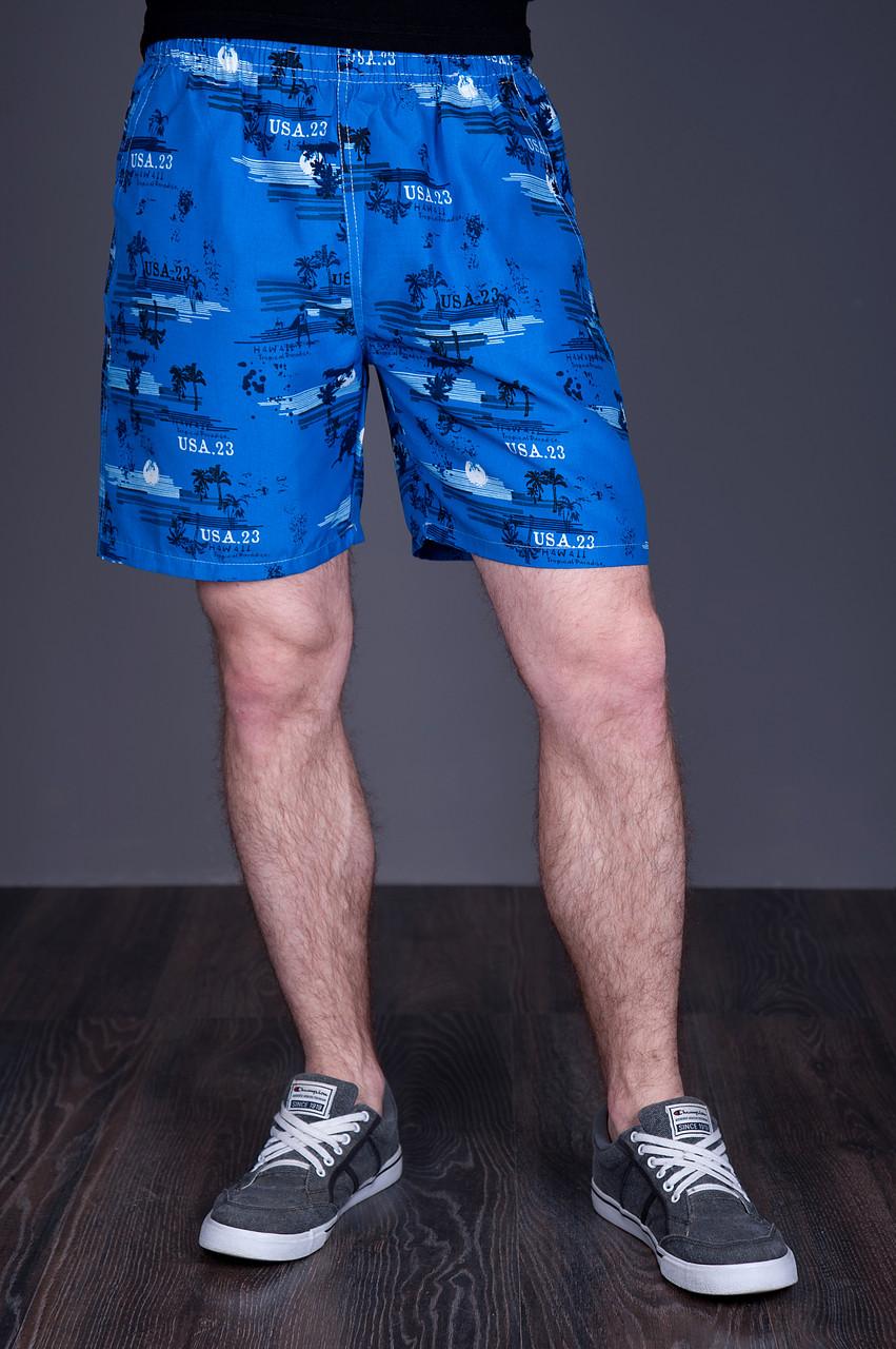 Чоловічі пляжні шорти (плащівка), синього кольору