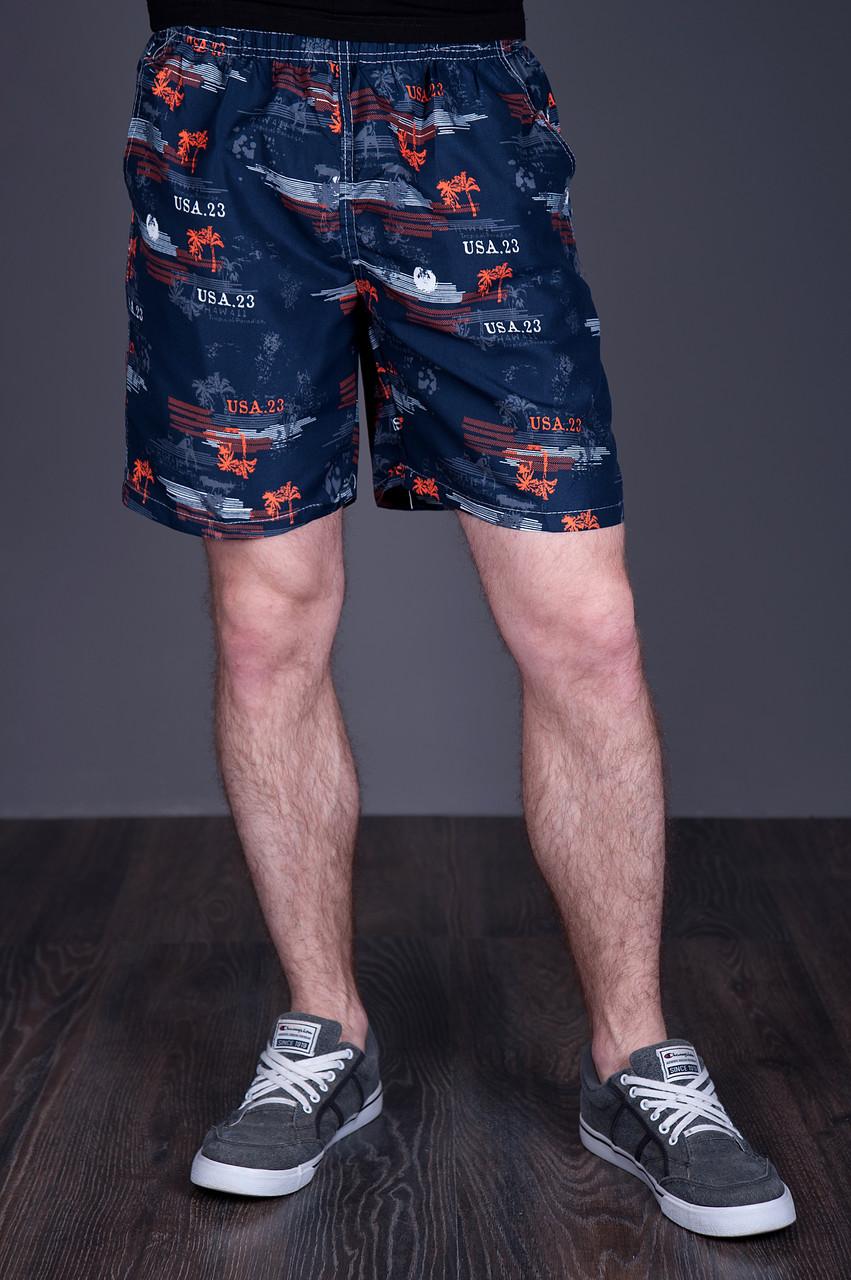 Чоловічі пляжні шорти (плащівка), темно-синього кольору