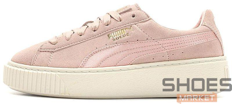 d3a04b29f03b Женские кроссовки Puma Suede Platform Mono Satin (Silver Pink   Whisper  White)