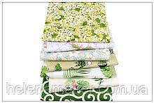 Набор хлопковых отрезов для пэчворка, скрапбукинга, рукоделия в зеленой гамме (7 отрезов  40*50 см)