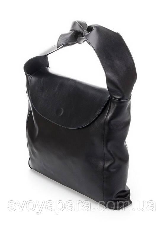 Женская двухсторонняя сумка черная кожаная (50-04)