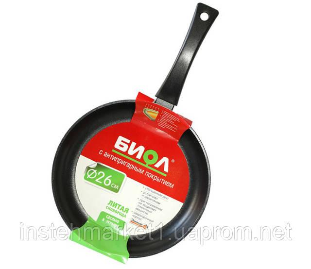 Сковорода БИОЛ 2204П (220х45 мм) алюминиевая с антипригарным покрытием, бакелитовая ручка, без крышкив интернет-магазине